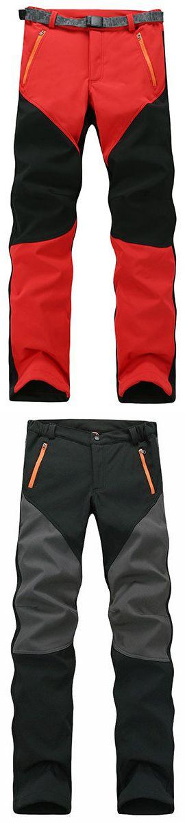 US$34.77 Mens Outdoor Sport Pants Elastic Soft Shell Warm Fleece Lined Vivid Color Waterproof Trouser#pants #outdoors #sports