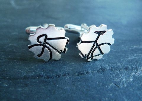 For the one on your list who lives to cycle in style...Bicycle Cufflinks in Black by # #giftguide #cyclelife #cufflinks