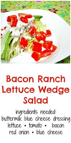 Bacon Ranch Lettuce Wedge Salad is topped with chopped roma tomatoes, crumbled blue cheese, and for a slight twist, a bacon ranch blue cheese dressing. So good!