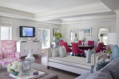 living dining roomLiving Rooms, White Living, Contemporary Living Room, Dining Chairs, Colors Schemes, Hot Pink, Vintage Modern, Benjamin Moore, Dining Room Chairs