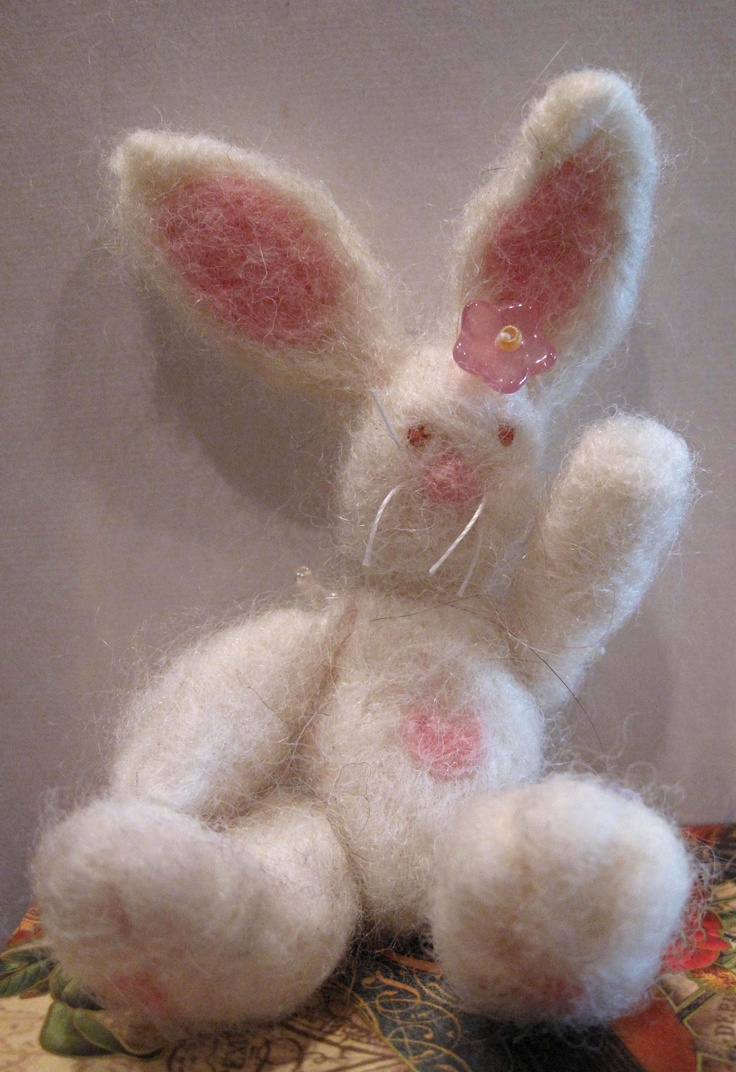 Felted Bunny. Isn't he cute. One of my first attempts.