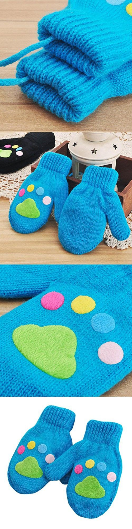 Voberry Infant Baby Boy Girls Lovely Winter Mittens Line Knitted Gloves with String Cute (Blue)