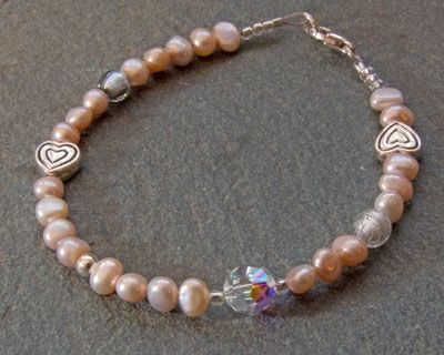 Bridal Bracelet | Firefrost Designs. Made using Seed Pearls, Murano glass and Swarovski Crystals