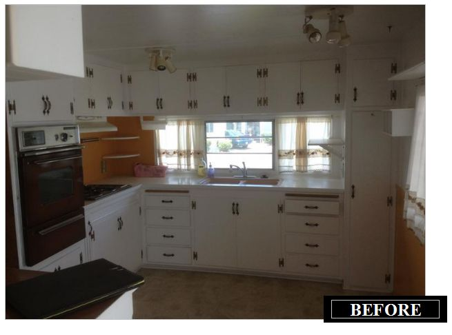 kitchen before remodel in vintage mobile home