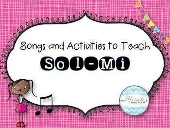 *Best-seller!*   Looking for ways to teach sol and mi? This 90-page unit includes the following:*Songs to teach sol-mi (Star Light, See Saw, Apple Tree, Bingo Bongolo, and Bluebird)*Lesson plan for presenting sol-mi*Lesson plan for Mozarts Toy Symphony, used to practice sol-mi*Sol-mi learning center activities* See Saw stick notation sheet for use in learning centers*Strategies for teaching sol-mi (physical, visual, and aural)*Strategies for staff work*Solfa manipulative visuals, with…