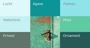Verschillende turquoises in mooie combinaties, turquoise laat zich goed met zowel koele als warme kleuren combineren.