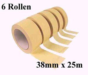 6 Rouleaux de ruban de masquage 25 m x 38 mm de peintre scotch ruban abklebeband