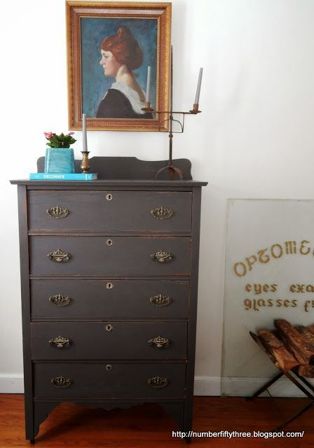 Number Fifty-Three: Charcoal Gray and Brass Antique Dresser. Queenstown Gray