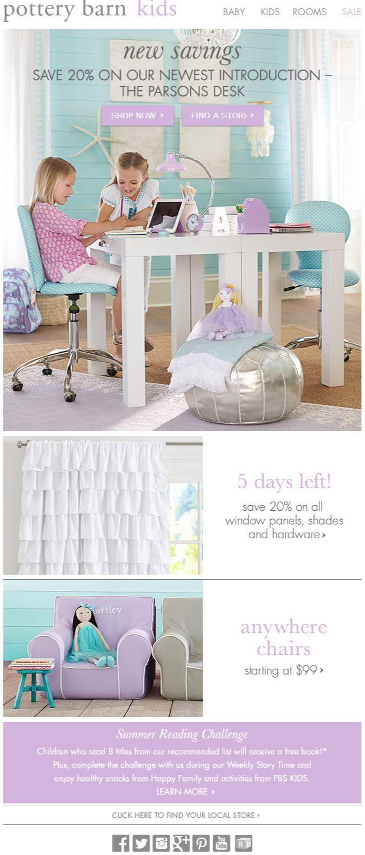 Potter Barn Kids newsletter, email marketing, design, pink, blue
