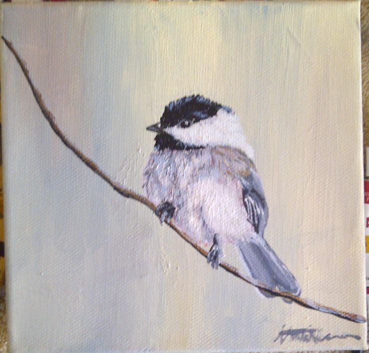 Small bird Painting 15x15cm Acrylic on Canvas