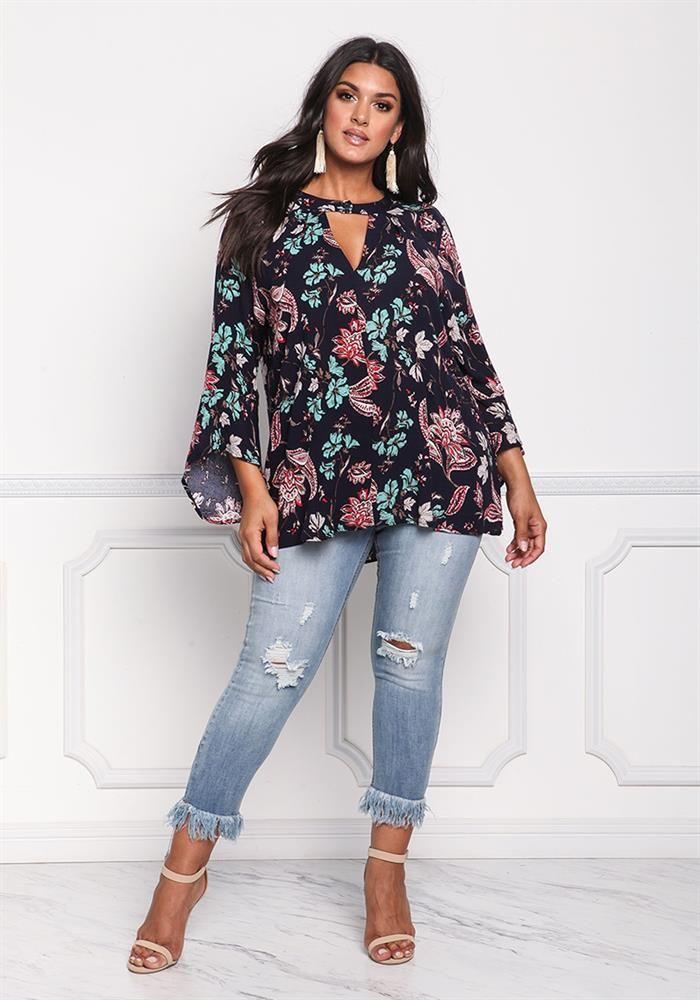 Black Basecolor Floral Paisley Plus Size Blouse