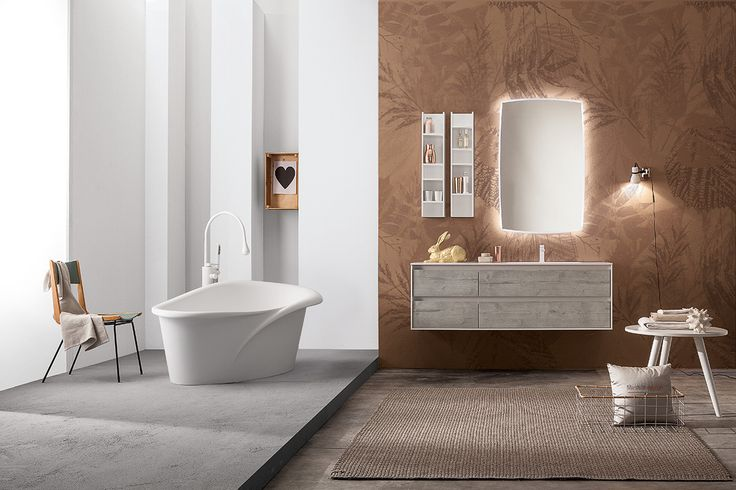 Kallaguan #bathtub combined with Summit 2.0 08: what a stylish bathroom! #Mastella #MastellaDesign #interiors #interiordesign #furniture #bath #bathroom #bathdesign