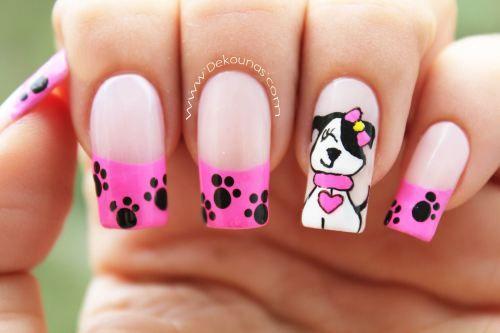Decoración de uñas caricatura perrita