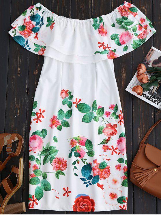 $21.99 Ruffles Off The Shoulder Sheath Dress - WHITE S