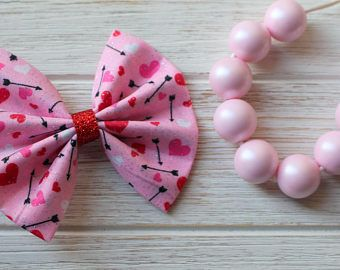 Baby Girl | Newborn | Toddler | Girls Valentine's Day Heart & Arrow Fabric Bow Nylon Headband | Hair Clip | Pig Tail Bows | Bow Tie