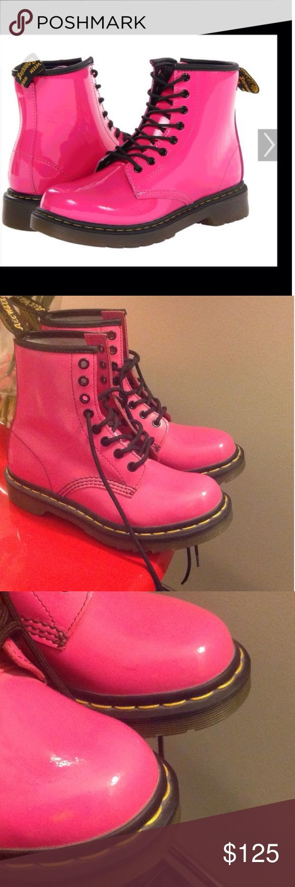 +MAKE AN OFFER+ $250 RETAIL LEATHER RARE MR.MARTEN +RARE HOT PINK DR. MARTEN $220.00 PLUS TAX RETAIL PATENT LEATHER BOOTS WOMENS SIZE 5+ ALMOST UNWORN FLAWLESS CONDITION, JUDG WORN 1x FOR 3hrs A MARK OR TWO IN THE FRONT, BOTTOMS LOOK UNWORN. THEYRE A MUST HAVE FOR EVERY FASHIONISTA. +++PRICED TO SELL SAME DAY, OFFERS WELCOME THROUGH THE OFFER OPTION, NO TRADES OR HOLDS+++ Dr. Martens Shoes Ankle Boots & Booties