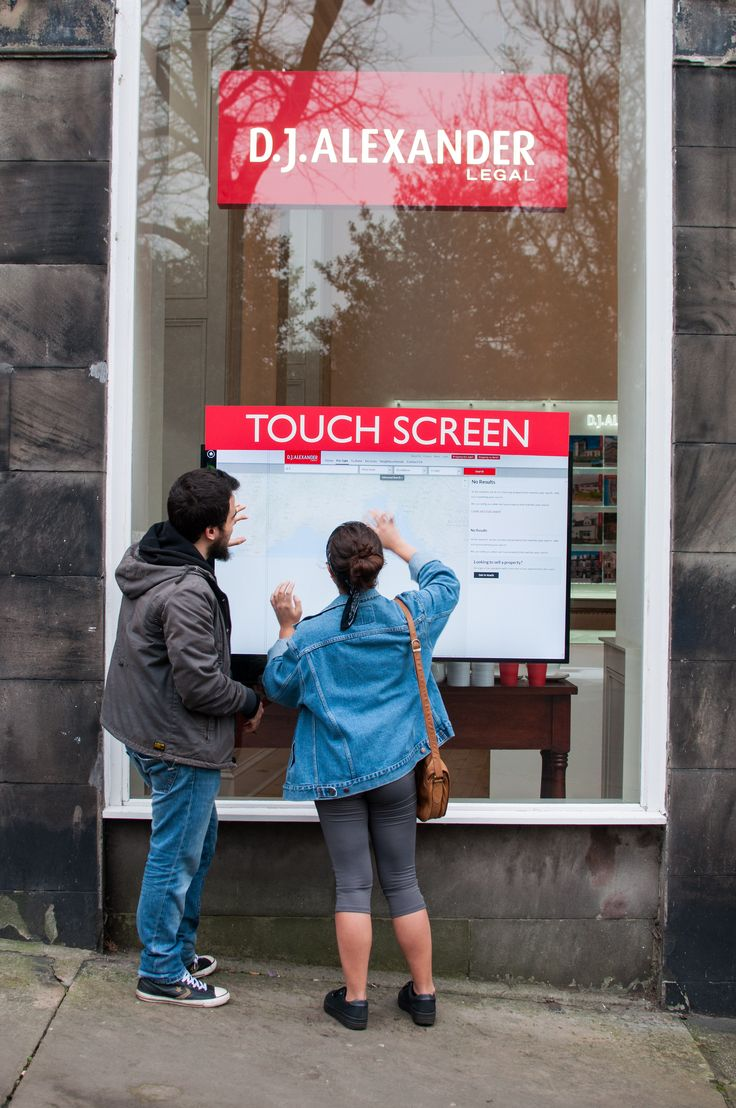 Touch screens are becoming more and more popular through out the city. This one is for finding houses around the U.K. It lets you search, whilst still standing outside, being able to take your own time. It is very interactive and feels futuristic as the screen is behind the window.