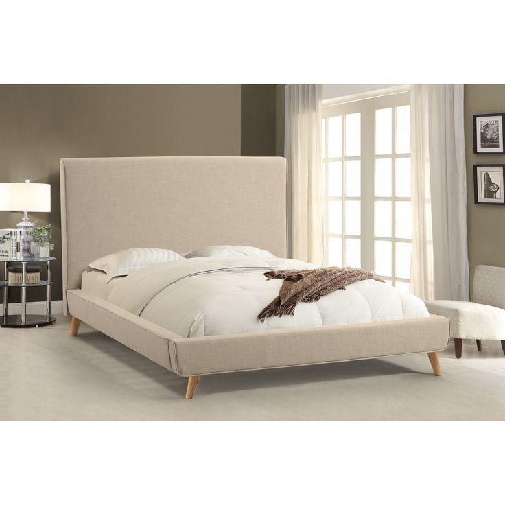 Abbyson Bartlett Ivory Mid Century Upholstered Platform Bed (Queen), Beige  Off
