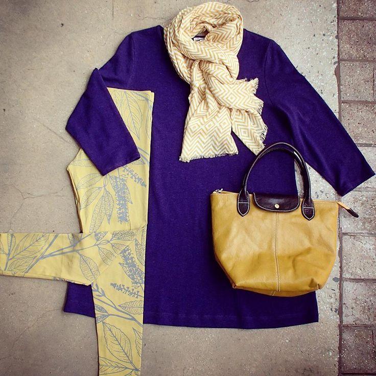 What a happy outfit 😊 @zeegaflinders Tunic @captain_robbo Adventure Pants @leathercargo Mini Pavan topped off with a flourish by @thescarfcompany.com.au Gotta love purple and mustard yellow 😉 #shopbendigo #explorebendigo #outfitoftheday #flatlay #5iftyflatlay #naturalfibres #australianmade #lyttletonterrace