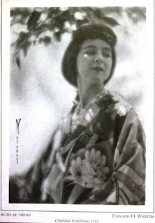 Ruth St. Denis, 1916. Edward Weston photograph. Publication unknown. From the Ramiel McGehee Ruth St. Denis Collection, UC-Irvine.