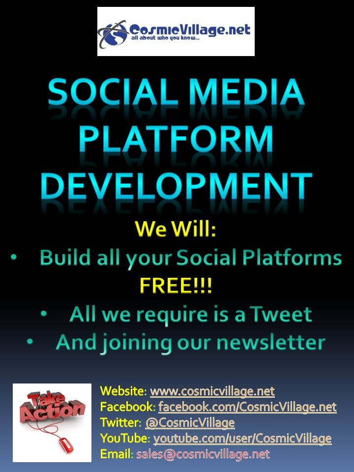 Social Media Platforms Development - All your platforms set up professionally with your Logo and Content. Cost:  $0.00 yes, its FREE! All we ask is if you are happy with what we do you join ur newsletter, send out a tweet + make a LinkedIn Recommendation. See More: http://bit.ly/AkWbLE