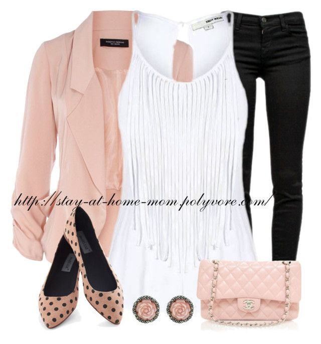 Drape Jacket & Fringe Top by amber-1991 on Polyvore featuring polyvore, fashion, style, Dorothy Perkins, J Brand, Chanel and clothing