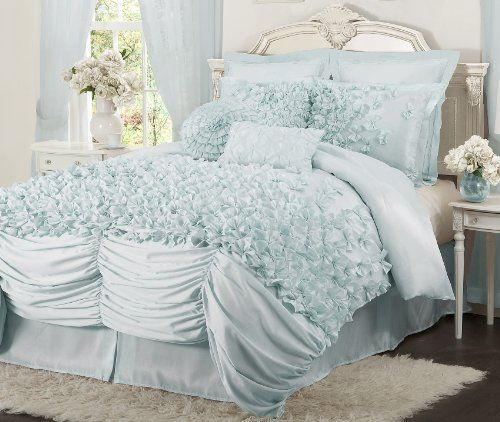 Lush Decor Lucia 4 Piece Comforter Set Queen Blue Lush