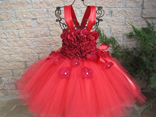 RED FLOWERS Red Tutu Dress Christmas Flower Girl Gown Holidays