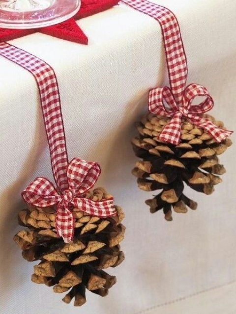 screw picture hanging hooks into the top of pinecones and add ribbon