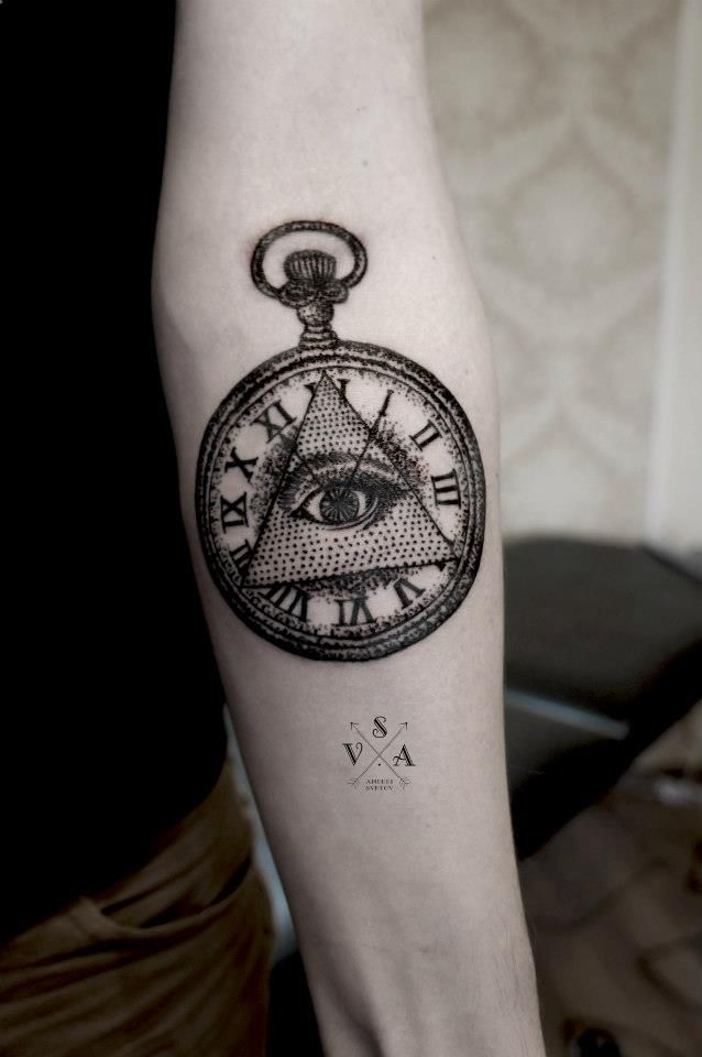 Eye of providence pocket-watch tattoo on forearm, by Andrey Svetov.