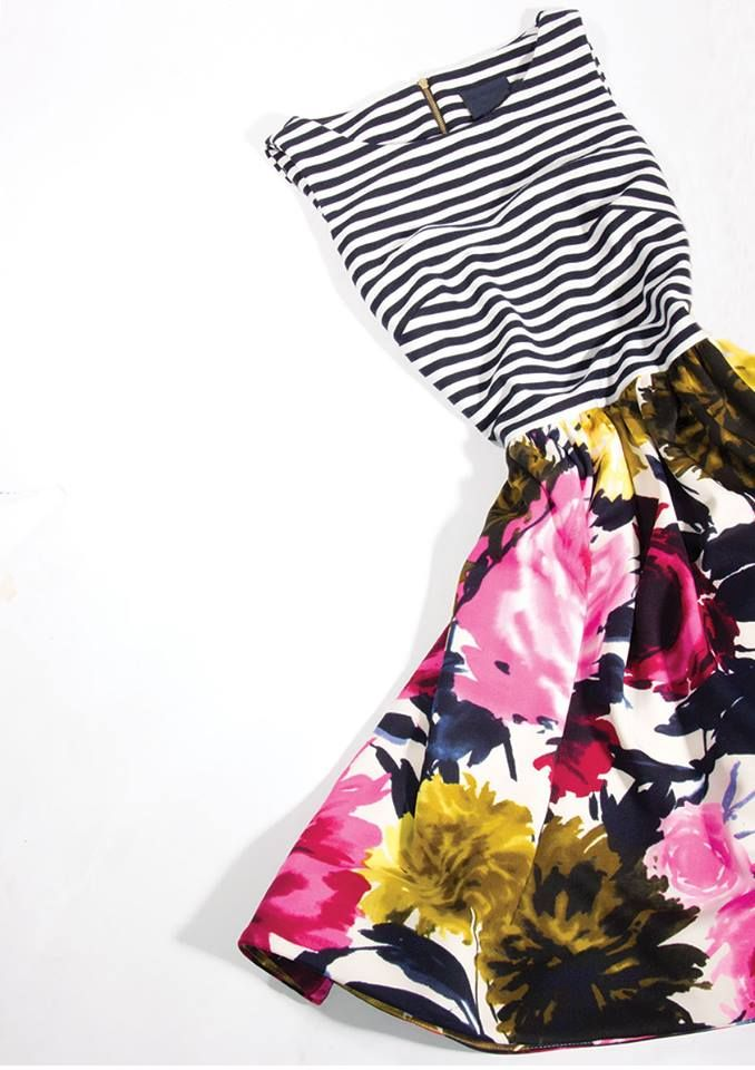 Prints please! We are ready to shop for spring. floral & striped dress $49.99 compare at $100