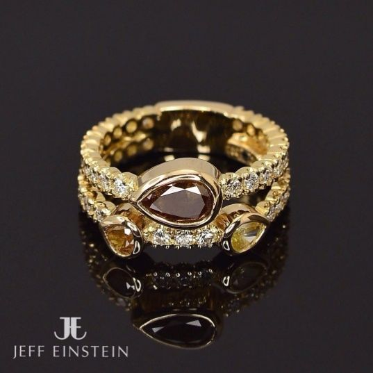 What do you think of this stunning ring? It is part of the recently released Jeff Einstein Collection!  18ct yellow gold set with white and coloured diamonds. . . . . . #jeffeinstein #jecollection #jeffeinsteinjewelry #jeffeinsteinjewellery #doublebay #sydney #sydneyspring #jewelry #jewellery #jewels #fashion  #style #ring #diamonds #finejewellery #weddingring
