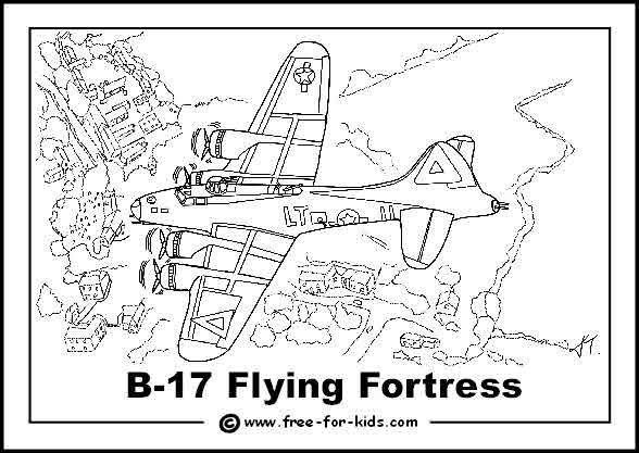 B17 Flying Fortress | Coloring pages, Airplane coloring ...