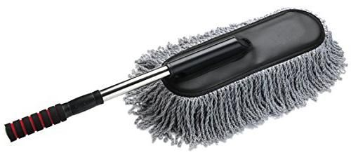 Car Duster, Onshowy Telescopic Retractable Handle Electrostatic Microfiber Car Wax Drag Removable Car Wash Brush Car Mop, Exterior or Interior Use Cleaning Tool