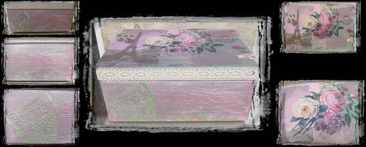 Κουτί με πύργο του Άιφελ και μαρμαρογραφία