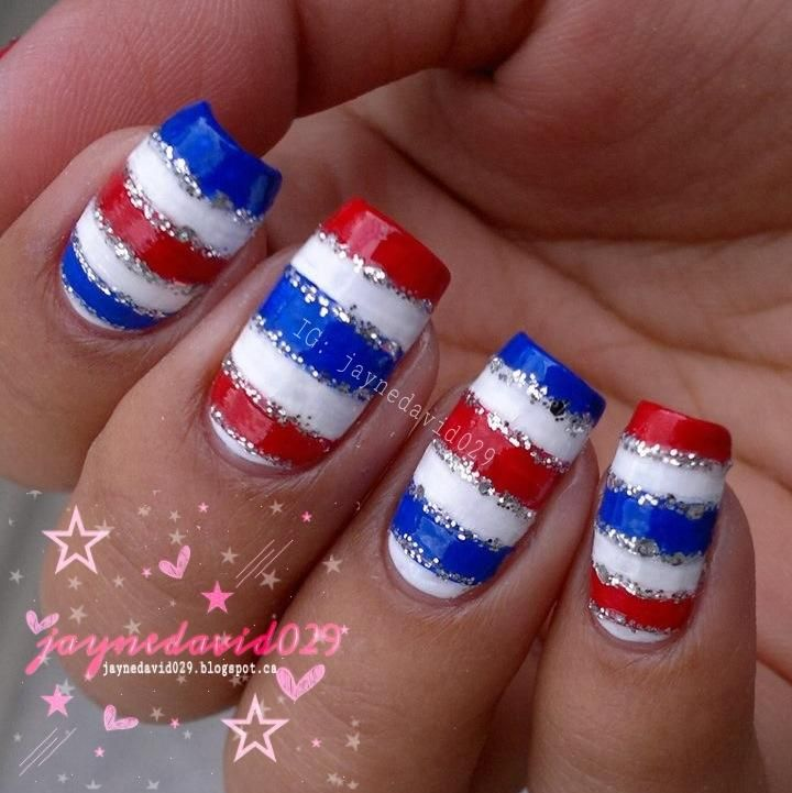 Wonderful Red White Blue Stripe Nail Art Design with Silver Glittering line. - 1814 Best Cute Nail Ideas! Images On Pinterest Nail Art Designs