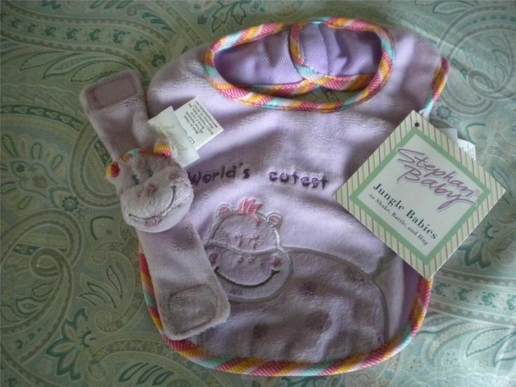 Stephan Baby Jungle Babies Purple Hippo World's Cutest Baby Bib Rattle Gift Set