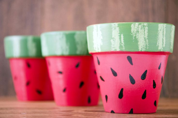Dress up planters with a bright watermelon design for a fresh summer look
