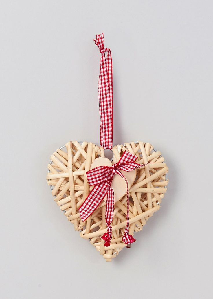 Christmas Wicker Heart Single Tree Decoration (16cm) - Matalan