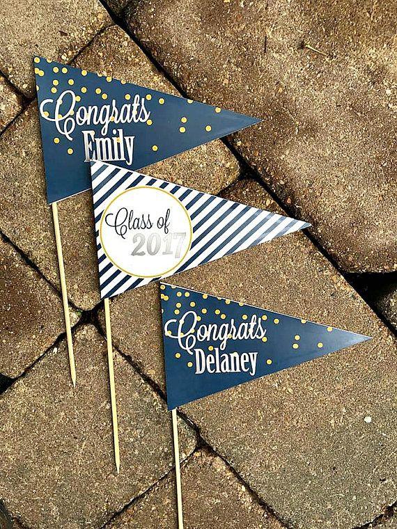 graduation party decorations graduation centerpiece grad pennant flag centerpiece custom. Black Bedroom Furniture Sets. Home Design Ideas