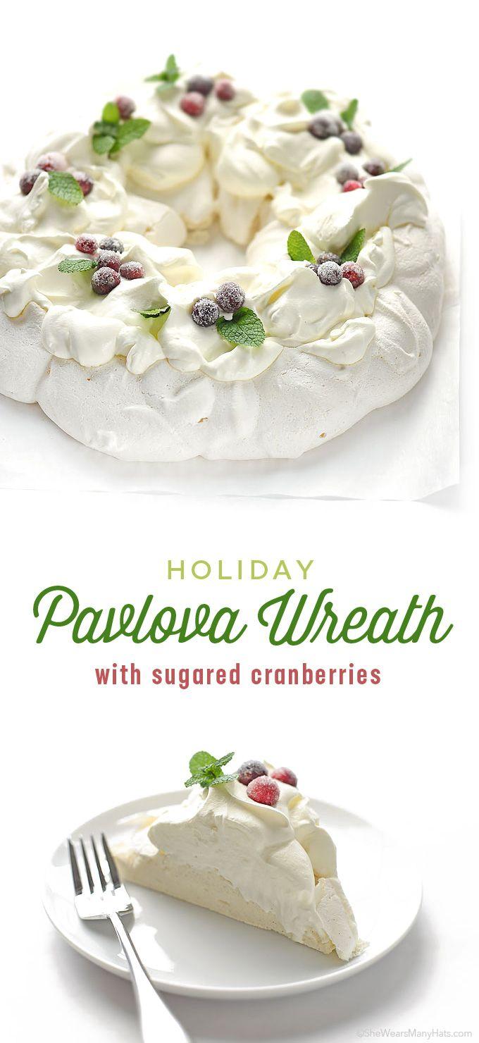 Holiday Pavlova Wreath Recipe | shewearsmanyhats.com More