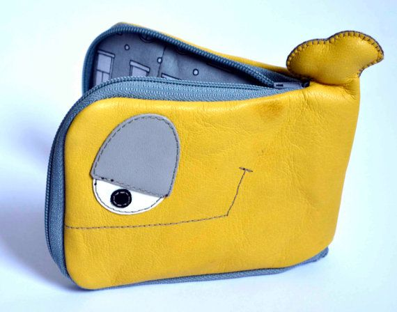 Little Yellow and Grey Whale leather wallet genuine by ritaboth121, $29.00