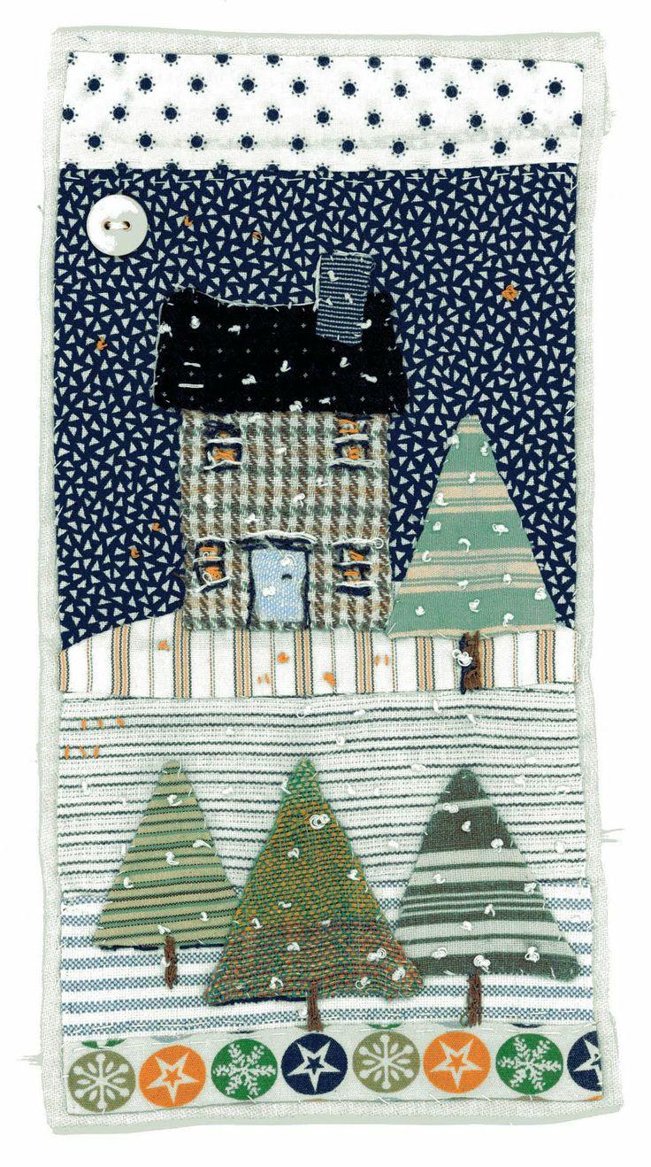 Sharon Blackman textile collage #winter #house