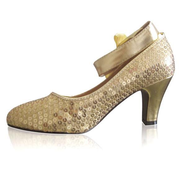 Туфли с золотыми блестками