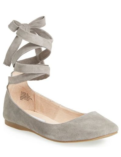 lace up grey ballet flats