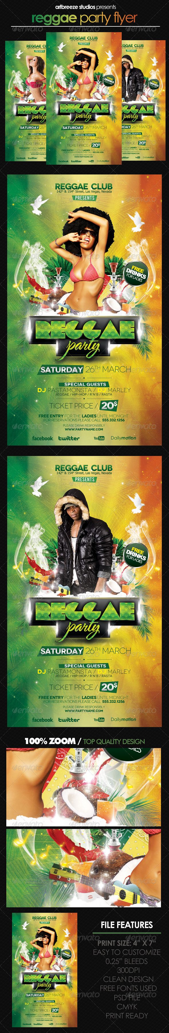 Reggae Party — Photoshop PSD #yellow #event • Available here → https://graphicriver.net/item/reggae-party/4085608?ref=pxcr