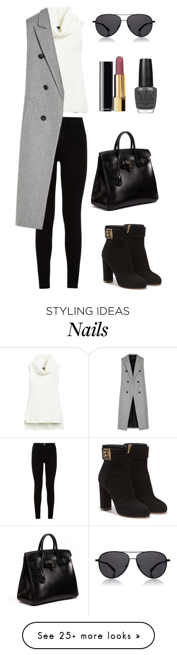 """""""simple #6"""" by vandaarh114 on Polyvore featuring White House Black Market, 7 For All Mankind, rag & bone, Salvatore Ferragamo, Hermès, The Row, Chanel and OPI"""
