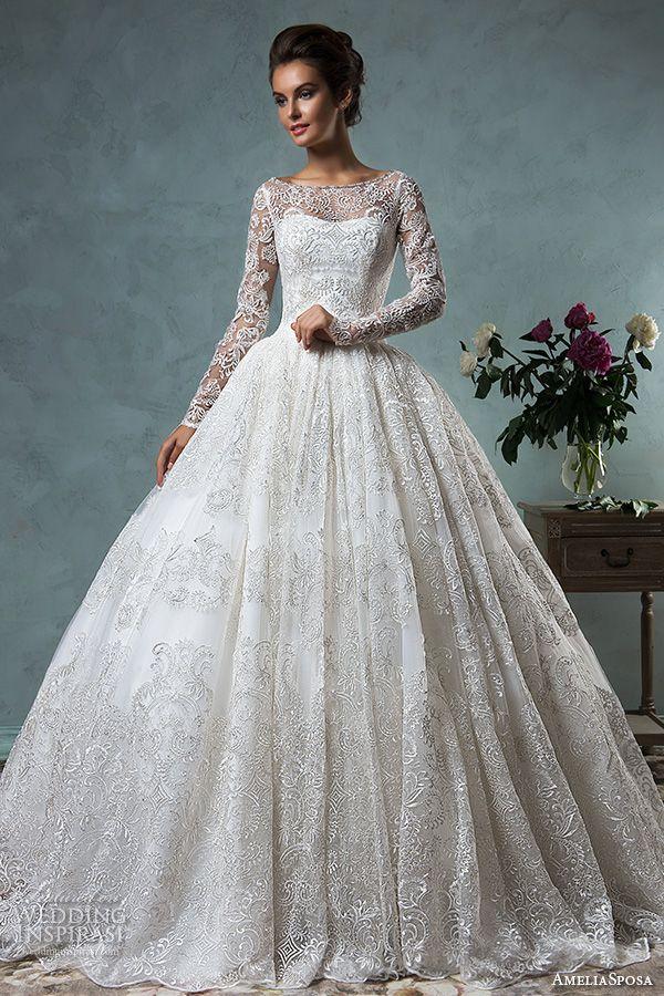 amelia sposa 2016 wedding dresses bateau neckline lace long sleeves beautiful ball gown wedding dress diana