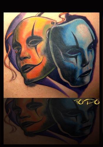 87 best mask tattoos images on pinterest masks tattoo art and body art tattoos. Black Bedroom Furniture Sets. Home Design Ideas