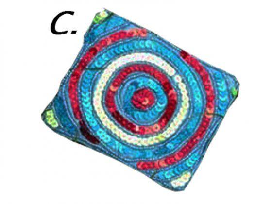 Gyöngyös himzett pénz- és irattartó ( C) kék, körök
